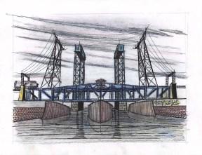 Symmetrical bridges cross the Passic River
