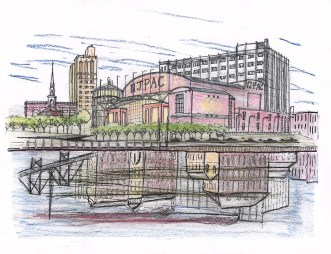 The city's industrial past is still reflected in the Passaic River