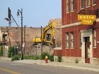 Yoga shop abuts demolition site