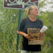 The atypical homeless lady: white & blond.