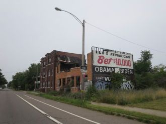 Is this advertisement for Obama's campaign of HOPE and CHANGE an ironic critique of progress?