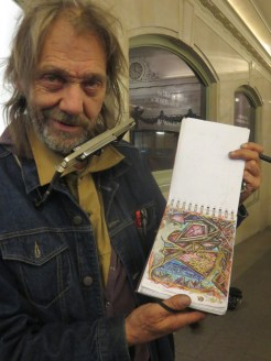 German expatriat turned traveling artist in Grand Central Terminal