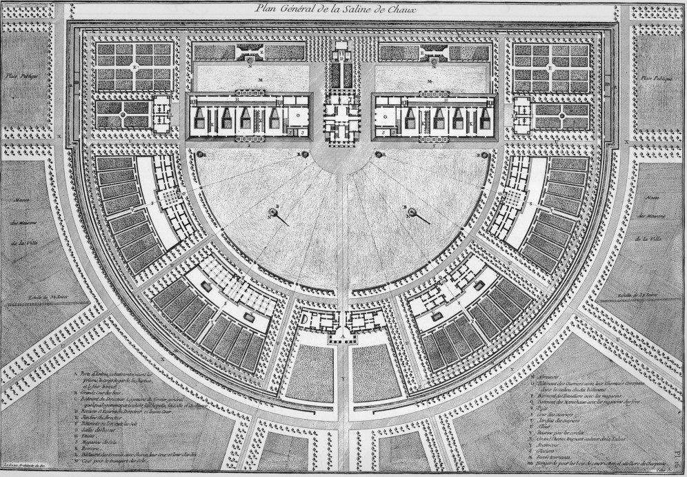 Plan for the factory and community at Act-et-Senans