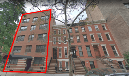 55 West 83rd Street, Upper West Side: This c.1950 building on left has no historic value, but it is surrounded by historic structures on either side and across the street. Hence, the legal protection for the neighbors is extended to this building.