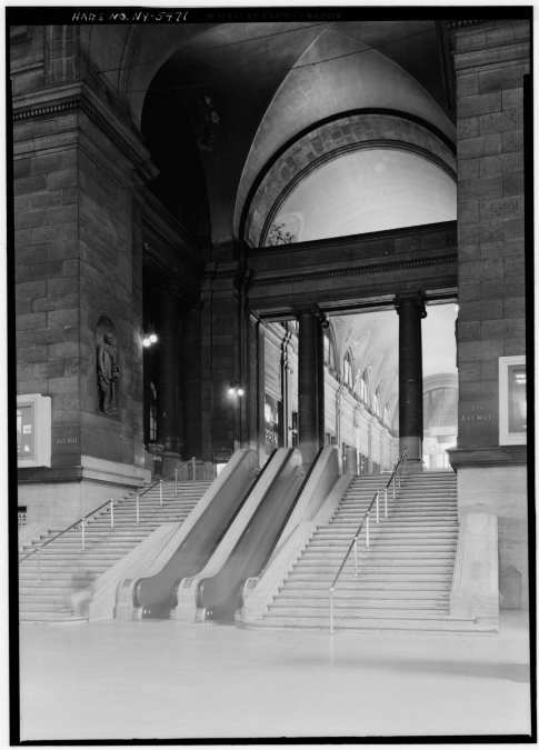 Waiting hall toward arcade exit in 1962 by Cervin Robinson