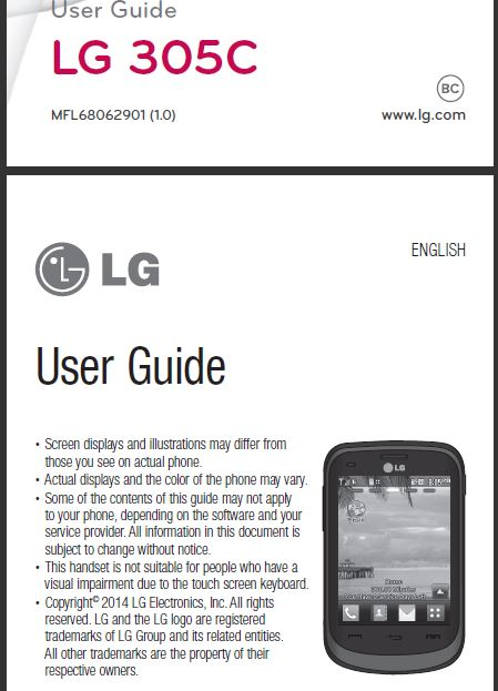 tracfone lg 305c user manual   guide LG Phone Charger LG Phone Charger