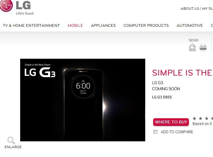 LG G3 D855 listed on company's UK website