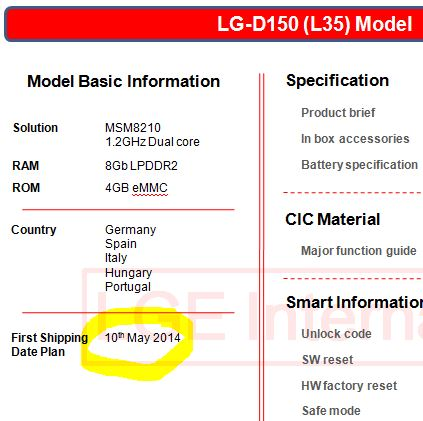 LG to launch LG L35 (D150) soon in Europe