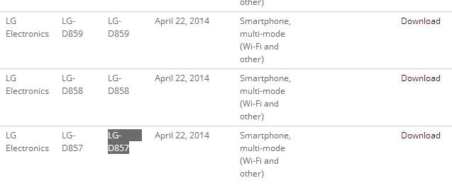 LG G3 (LG-D859,LG-D858,LG-D857) receives Wi-Fi certification