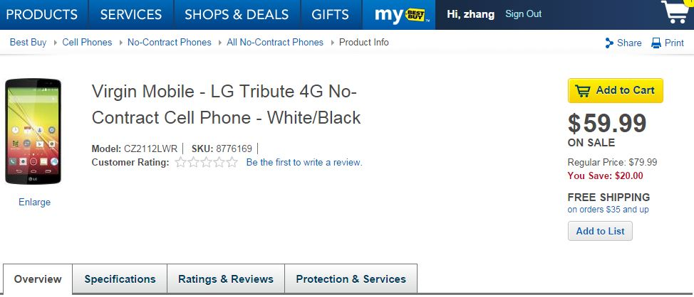 Deal: Best Buy offering LG Tribute for $59.99 No-Contract