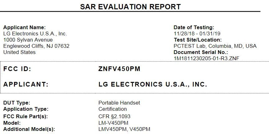 Sprint LG V50 ThinQ 5G Gets FCC Approval as Launch Nears