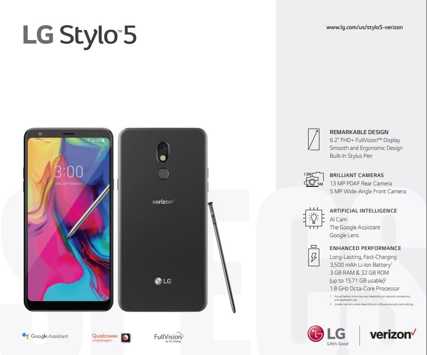 Verizon LG Stylo 5 Manual / User guide – My LG Cell Phones