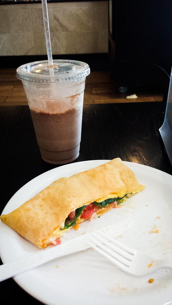 Cafe Mezcla Sunny days crepe and Nutella Freeze