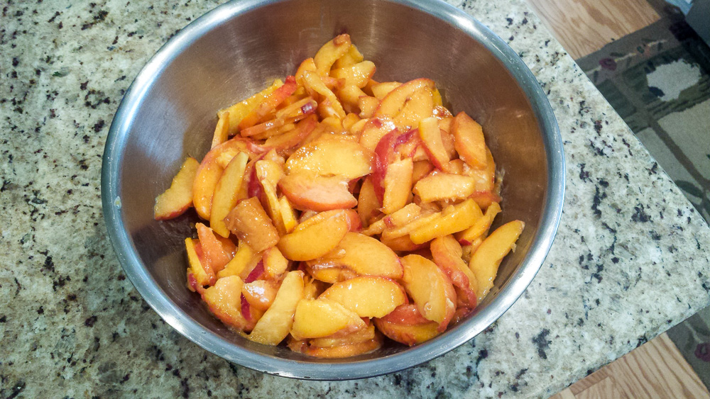 bowl of peaches for peach crisp