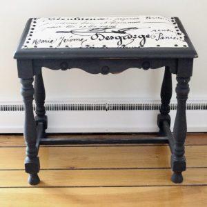 furniture- black- chalk paint- french script- home decor- vintage