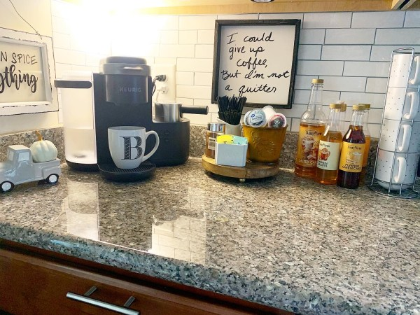 coffee bar on the kitchen counter in small places