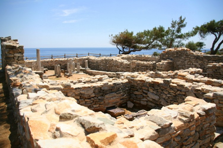 Thassos places to visit - check out the history at some of the ruins; Aliki beach