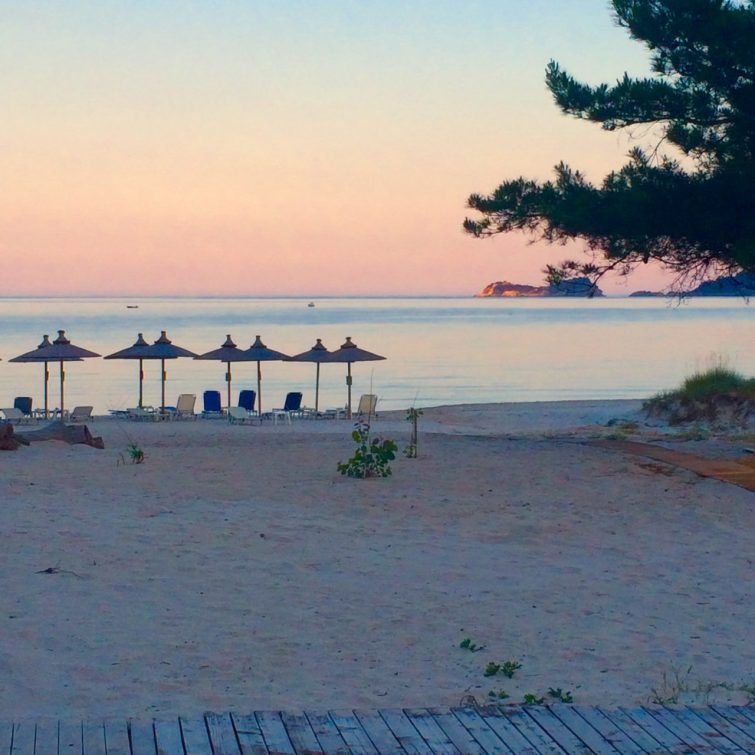 You get the best greek sunsets on the east, especially on the beach near the Ilio Mare hotel