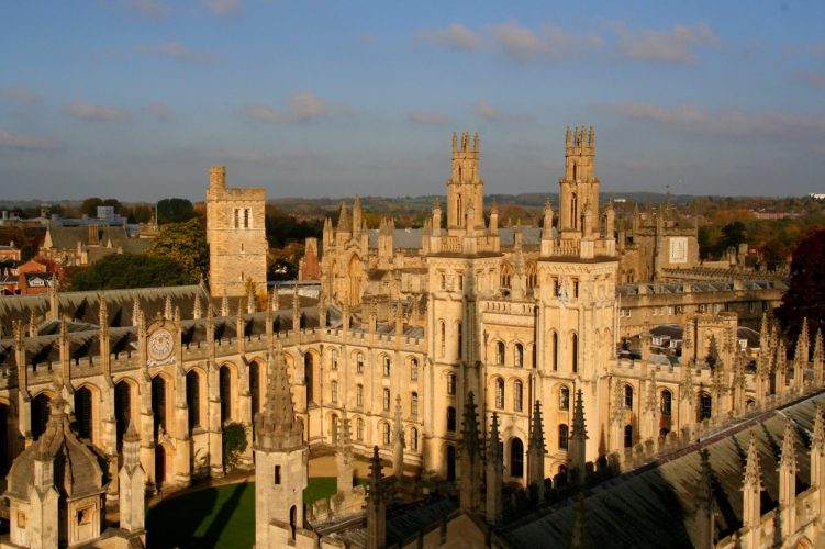 Best view of Oxford College All Souls from St Marys tower University Church. Best college to vosot in oxford