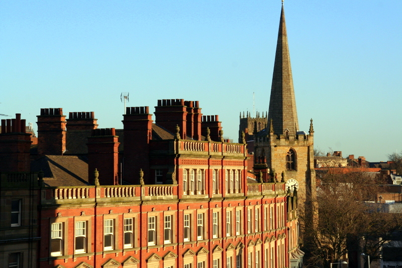 Old architecture and the skyline in Nottingham, England