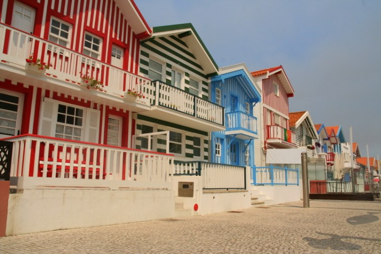 Striped Beach Houses of Costa Nova, Portugal - a little seaside town on the West coast with great beaches and some fantastic restaurants. The colourful houses really make this a highlight for this area.