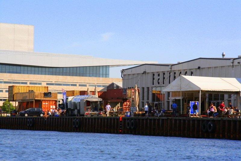 A view of Paper Island (the Copenhagen Street Food Market) from the NETTO boat tour. Once an old paper factory, now a food market serving dishes from all corners of the earth.