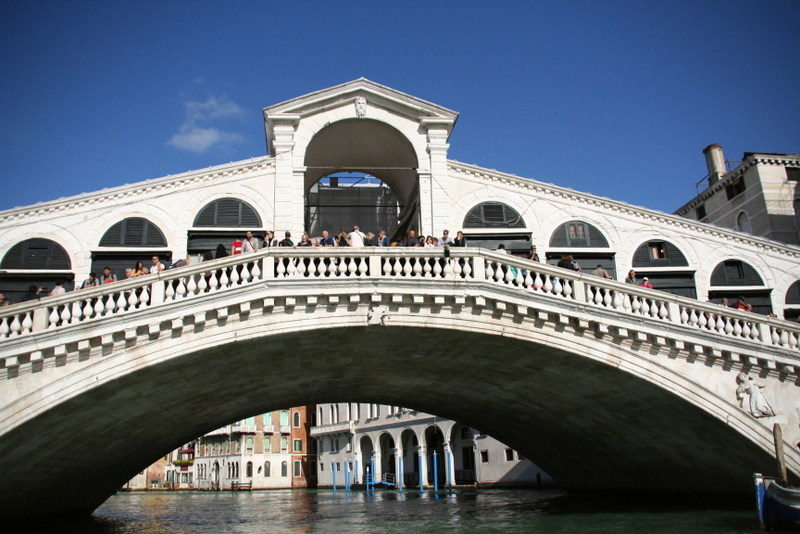The Rialto Bridge in Venice is one of the cities main tourist attractions in the area of San Polo.