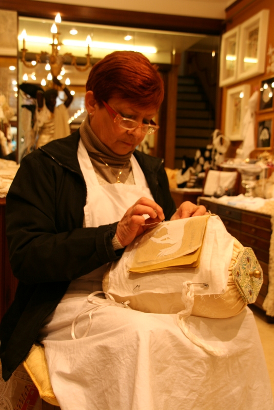 A lace maker in Burano - a dying craft