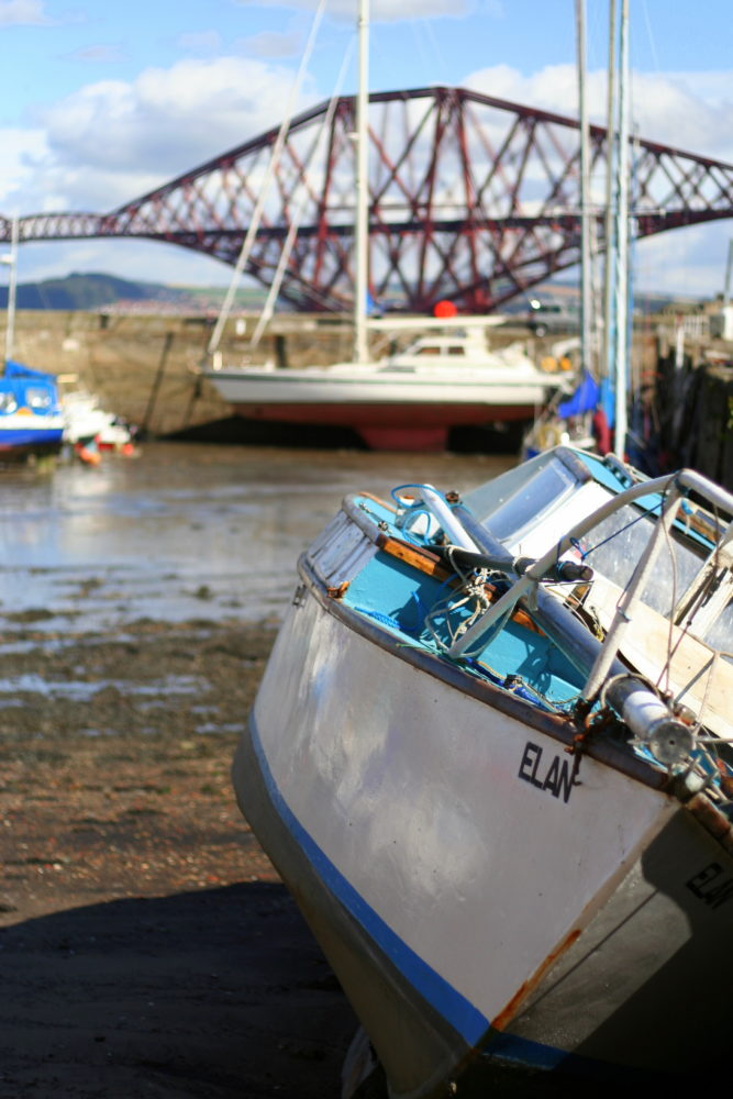 The boats in the harbour make for a pretty backdrop in the fishing village of South Queensferry, Scotland - a great day trip from Edinburgh