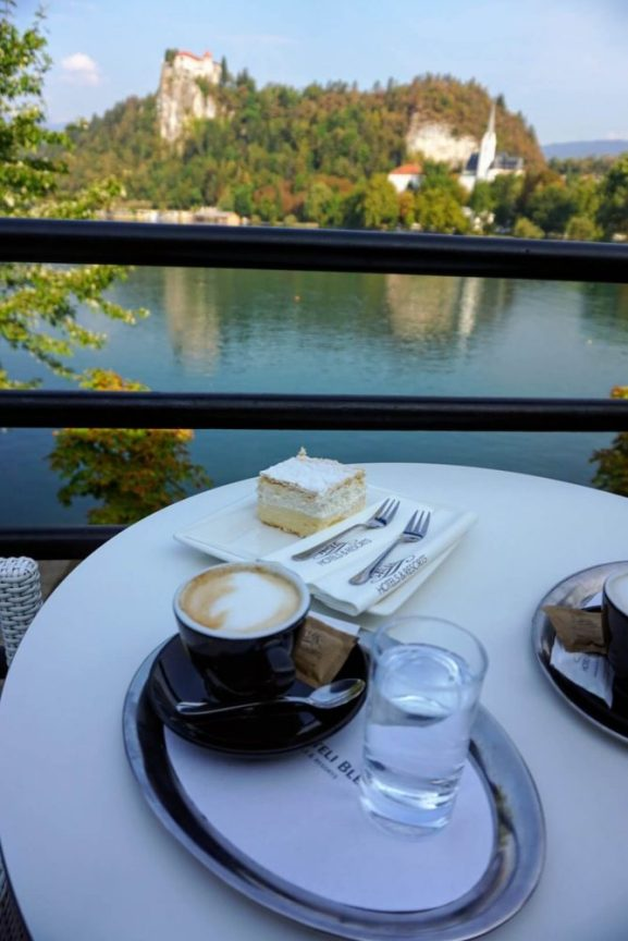 One thing you must do when you're at Lake Bled is try their famous Bled Cake - great local food