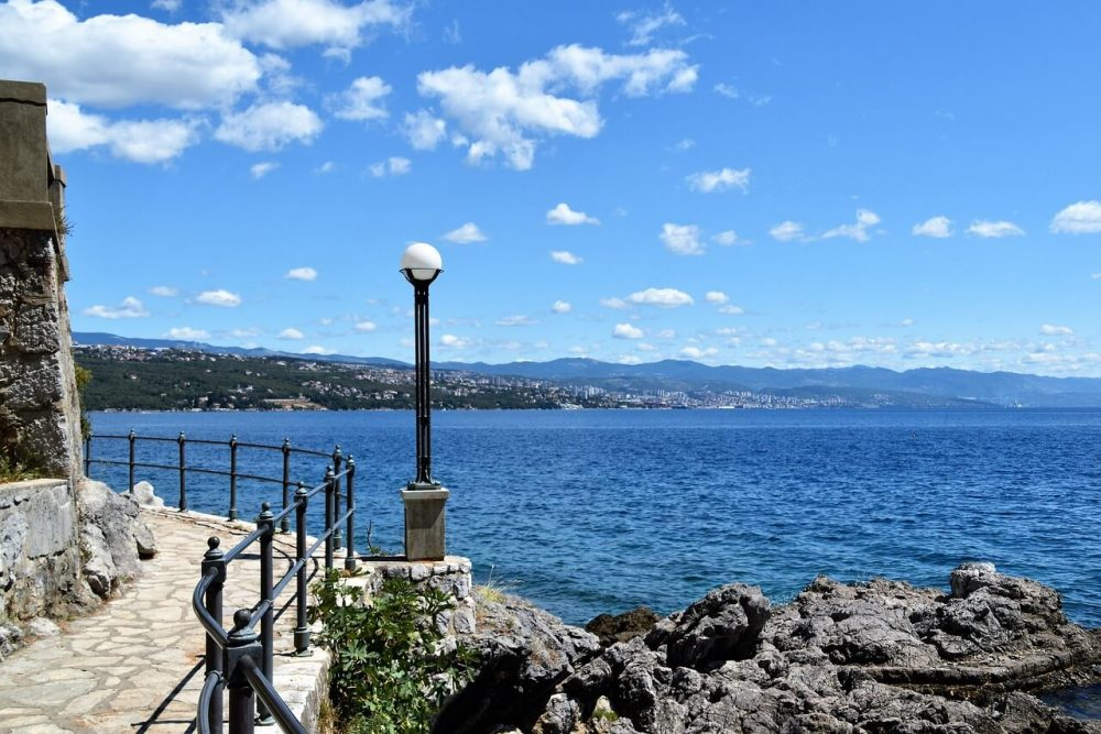 The lungomare is the name of the coastal path that weaves through Opatija with sea views
