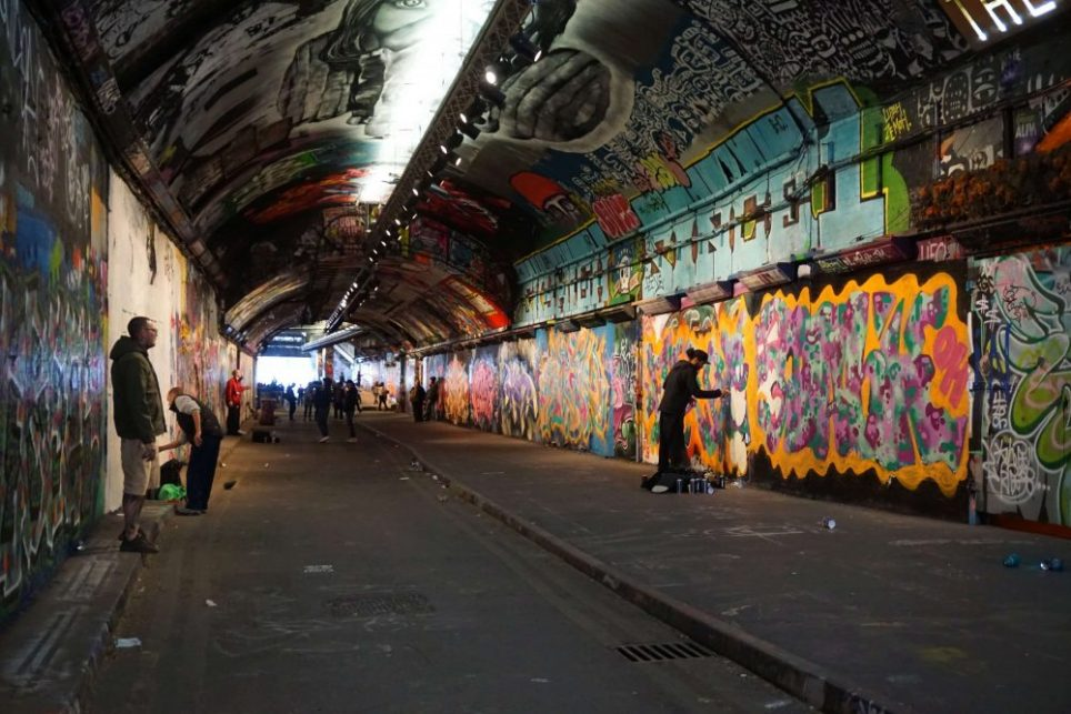 the vaults in London are a hidden underground art display for street art and graffiti