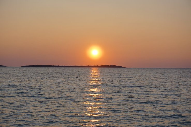 sunset over the Brijuni islands, Istria ,Croatia