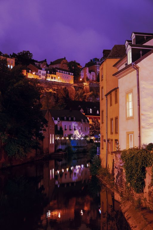 bars in the grund at night in luxembourg