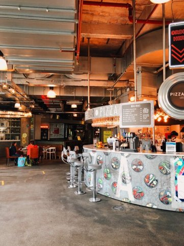 where to eat in Leeds? Trinity Kitchen in the shopping centre, a mix of street-food vendors.