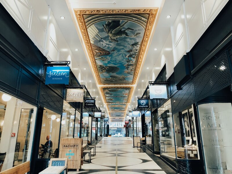 Birmingham sights - see the ceiling murals in this Victorian Arcade