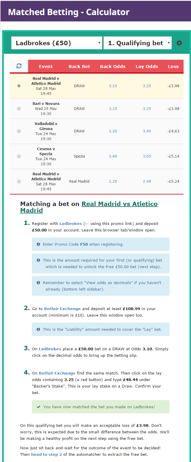 Matched Betting Calculator Save The Student Automatcher