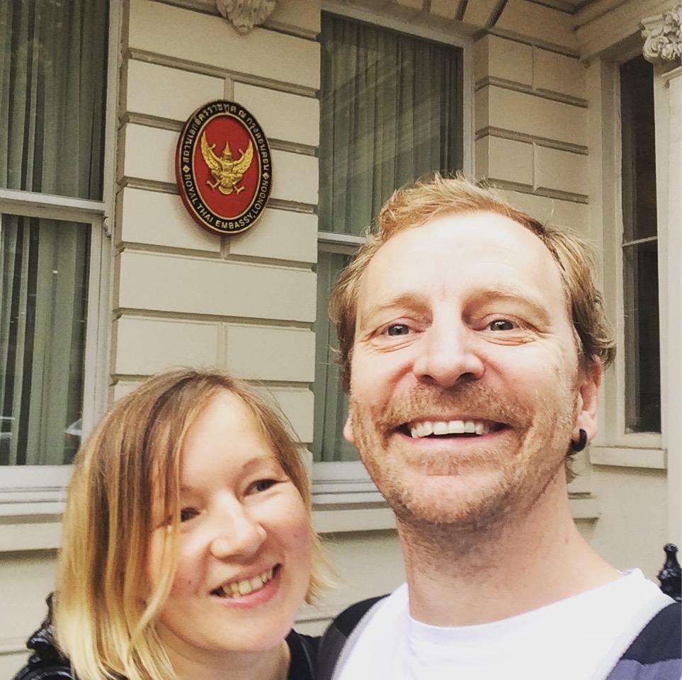 Outside the London Thai Embassy