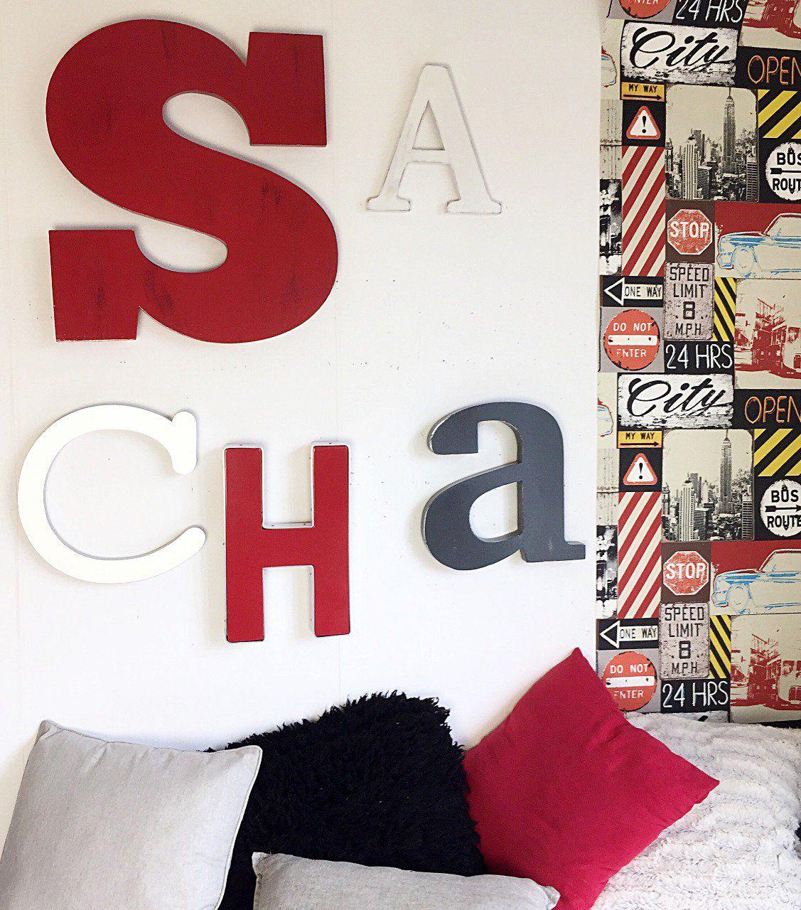prenom geant sacha rouge argent noir tete de lit industrielle mylittledecor fr