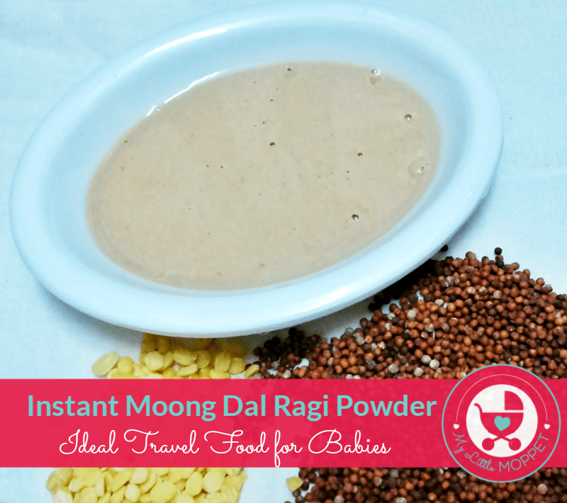 Instant Moongdal Ragi Powder recipe fro travelling with babies
