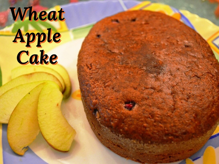 Wheat Eggless Apple Cake with Pomegranate - My Little Moppet