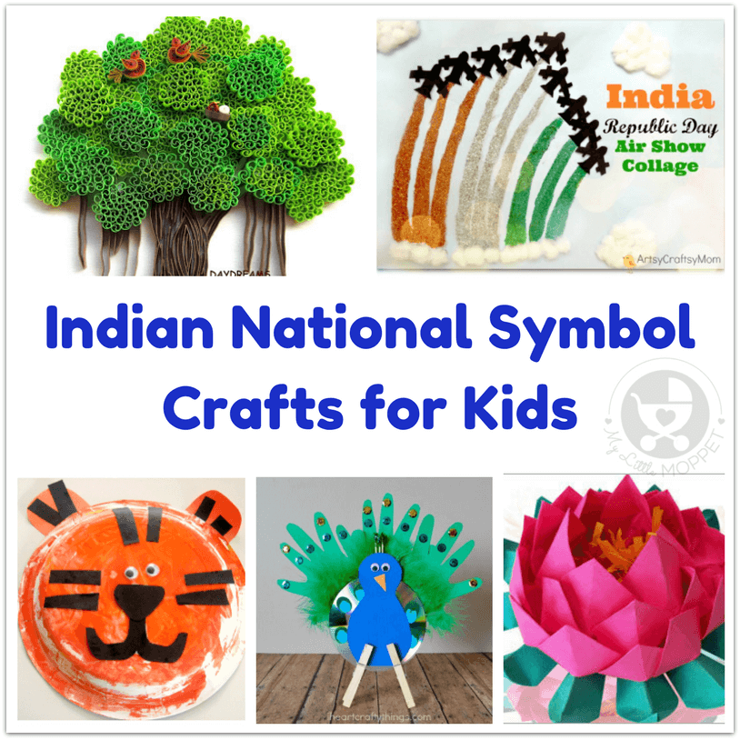 This Republic Day, teach kids about India's national symbols through these 7 Indian National Symbol Crafts for Kids. National animal, bird, fruit & more!