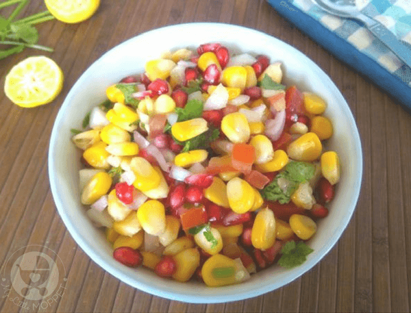 This summer let the kids enjoy a refreshing and colorful snack packed with nutrition - a Sweet Corn Salad with veggies and lime seasoning!