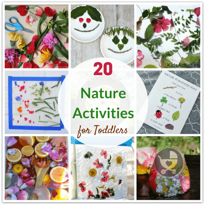 Help toddlers learn about nature and the environment while having fun with these super simple Nature Activities for Toddlers, with leaves, flowers & more!