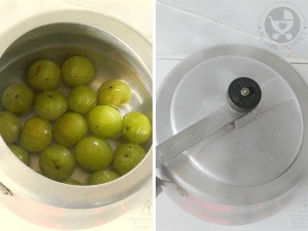 boil the amla in a pressure cooker
