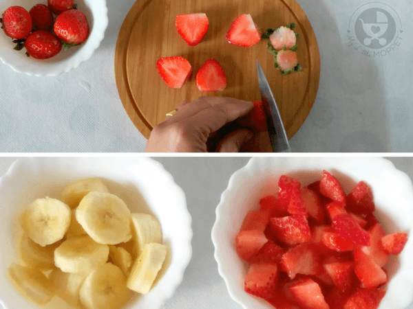 Strawberry Banana Puree for Babies wash and chop the fruits