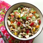 Black eyed bean salad, Karamani/Thatta Payiru salad is a filling protein packed snack, which can be served as a refreshing, crunchy after school snack.