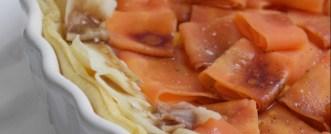 Tarte salée, panais, carotte, cumin et balsamique