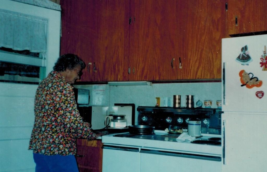 Leona in her kitchen