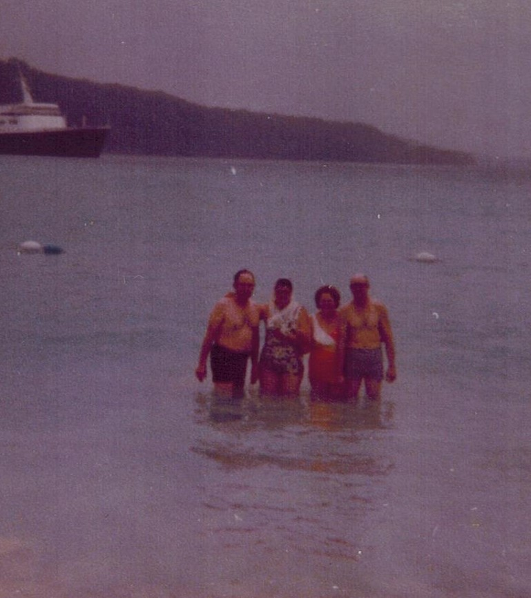 Miller and Parrs in Jamaica in water 1977
